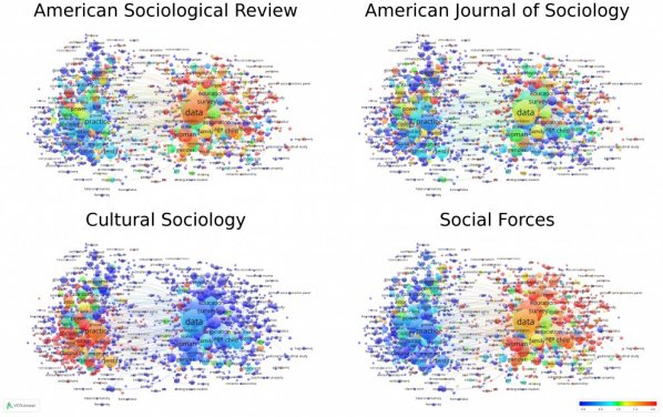 Figure 2. Maps showing the relative frequency of terms in journals.